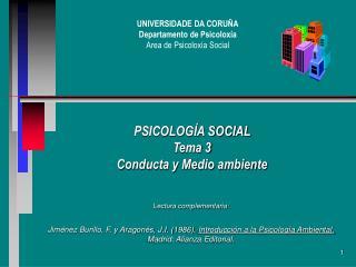 PSICOLOGÍA SOCIAL  Tema 3 Conducta y Medio ambiente