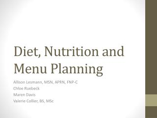 Diet, Nutrition and Menu Planning