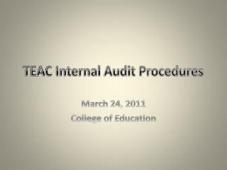 TEAC Internal Audit Procedures