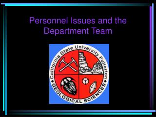 Personnel Issues and the Department Team
