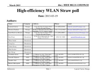 High-efficiency WLAN Straw poll