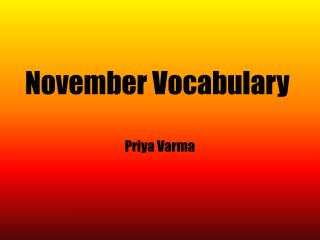 November Vocabulary