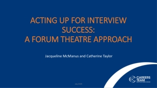 Acting up for Interview Success: A Forum Theatre Approach