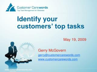 Identify your customers' top tasks