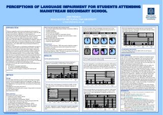 PERCEPTIONS OF LANGUAGE IMPAIRMENT FOR STUDENTS ATTENDING MAINSTREAM SECONDARY SCHOOL ANN FRENCH MANCHESTER METROPOLITAN