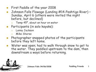 First Paddle of the year 2008