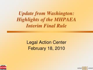 Update from Washington:  Highlights of the MHPAEA  Interim Final Rule