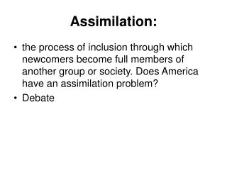 Assimilation:
