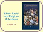 Ethnic, Racial, and Religious Subcultures  Chapter 14