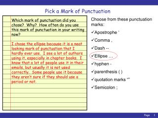 Pick a Mark of Punctuation