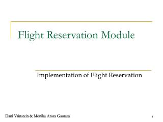 Flight Reservation Module