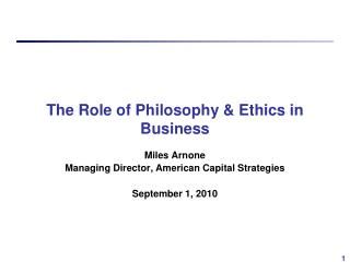 The Role of Philosophy  Ethics in Business