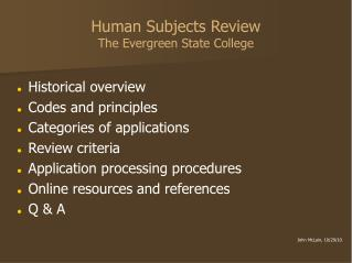 Human Subjects Review The Evergreen State College