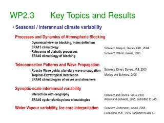 WP2.3       Key Topics and Results