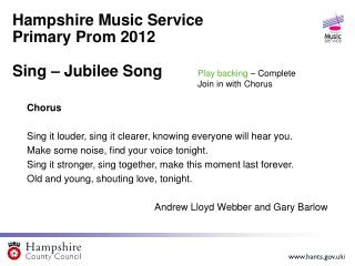 Hampshire Music Service  Primary Prom 2012 Sing – Jubilee Song