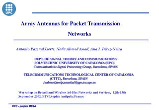 Array Antennas for Packet Transmission                                     Networks