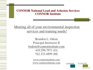 CONNOR National Lead and  Asbestos  Services CONNOR Institute