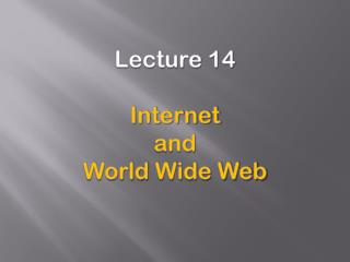 Lecture 14 Internet and World  Wide Web
