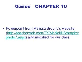 Gases CHAPTER 10