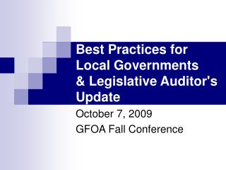 Best Practices for Local Governments   Legislative Auditors Update
