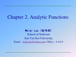 Chapter 2. Analytic Functions