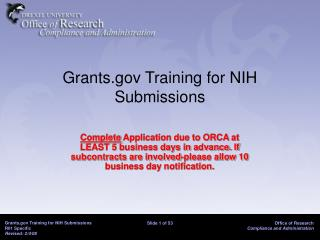 Grants Training for NIH Submissions