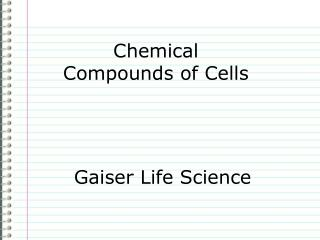 Chemical Compounds of Cells