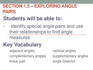 Section 1.5 – Exploring Angle Pairs