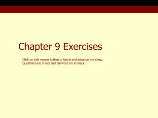 Chapter 9 Exercises
