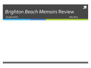 Brighton Beach Memoirs  Review
