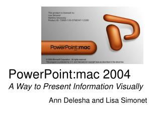 PowerPoint:mac 2004 A Way to Present Information Visually