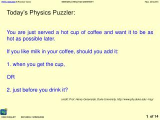 Today's Physics Puzzler: