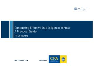 Conducting Effective Due Diligence in Asia:  A  Practical Guide