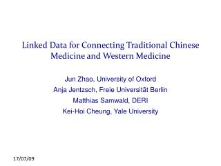 Linked Data for Connecting Traditional Chinese Medicine and Western Medicine