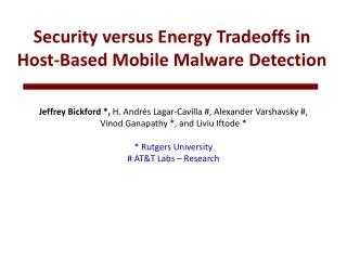 Security versus Energy Tradeoffs in  Host-Based Mobile Malware Detection