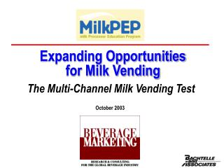 Expanding Opportunities for Milk Vending
