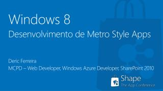 Windows 8 Desenvolvimento de Metro Style Apps