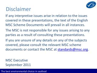 The best environmental choice in seafood