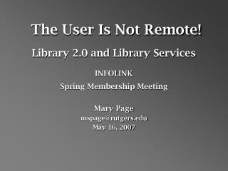 The User Is Not Remote!