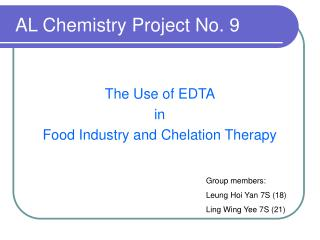 AL Chemistry Project No. 9