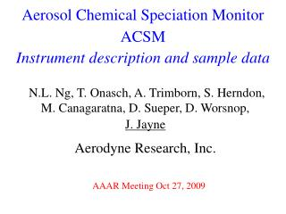 Aerosol Chemical Speciation Monitor ACSM Instrument description and sample data