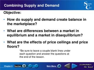 Combining Supply and Demand