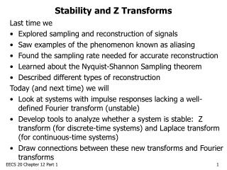 Stability and Z Transforms