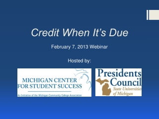 Transfer Credit  Principles and Practices