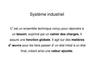 Système industriel