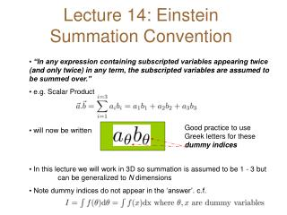 Lecture 14: Einstein Summation Convention