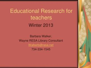 Educational Research for teachers