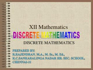 XII Mathematics