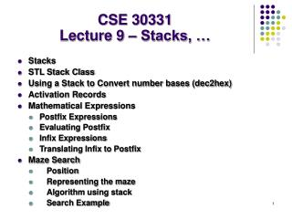 CSE 30331 Lecture 9 – Stacks, …