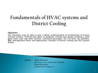 Fundamentals of HVAC systems and  District Cooling